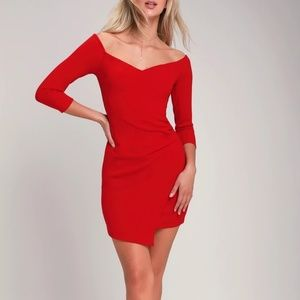 Lulus Red Off-the-Shoulder Bodycon Dress